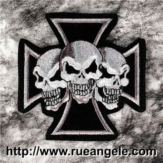 Croix de Malte biker têtes de mort patch